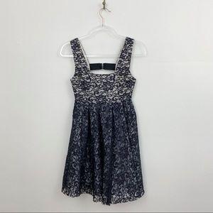Alice + Olivia Black Lace A-Line Dress
